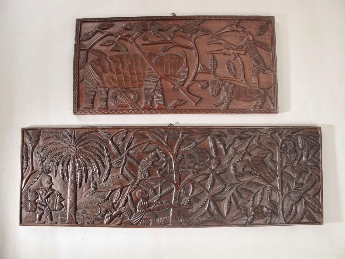 An Interesting Pair Of Original Early Benin Carved Hard Wood Panels,