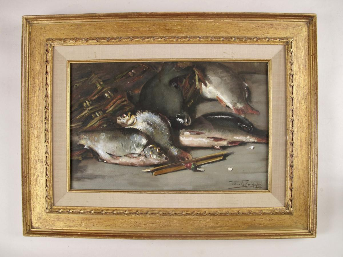 A Very Interesting And Rare Crayon Of An Angler's Catch Of Coarse Fish And A Float. Signed And