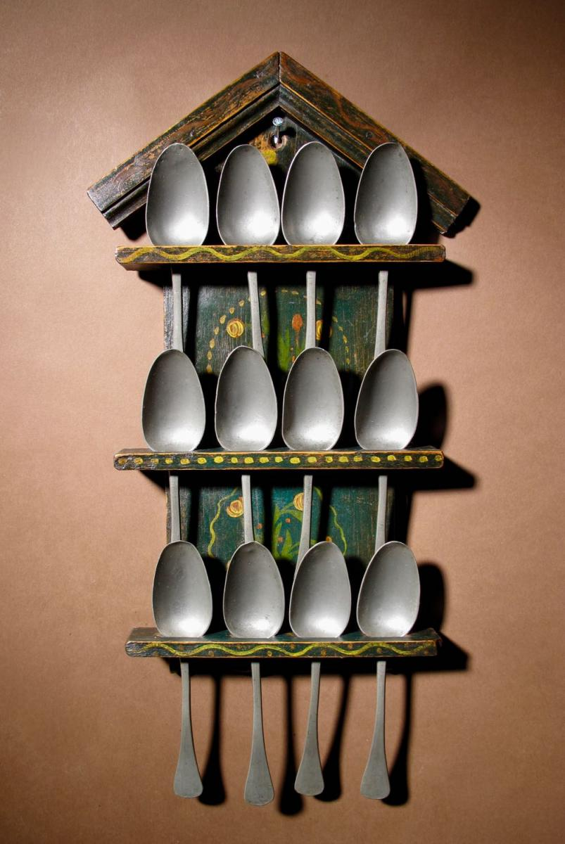 A Dutch Very Decorative And Original Painted Spoon Rack.