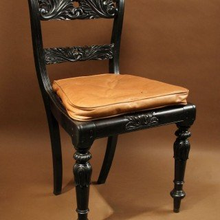 Indian Anglo Chair Finely Carved In Solid Ebony, Ceylon (sri Lanka), 1830-photo-2