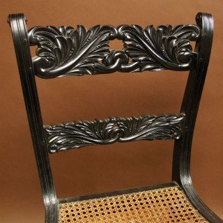 Indian Anglo Chair Finely Carved In Solid Ebony, Ceylon (sri Lanka), 1830-photo-3