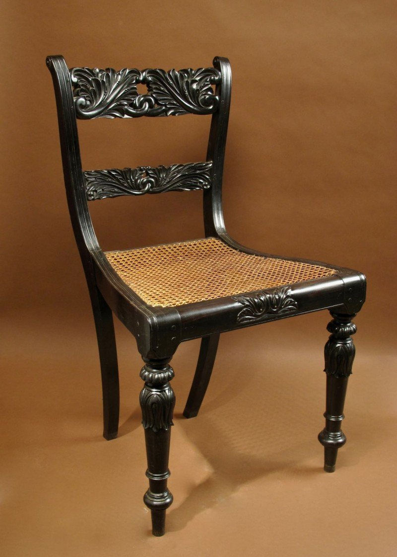 Indian Anglo Chair Finely Carved In Solid Ebony, Ceylon (sri Lanka), 1830