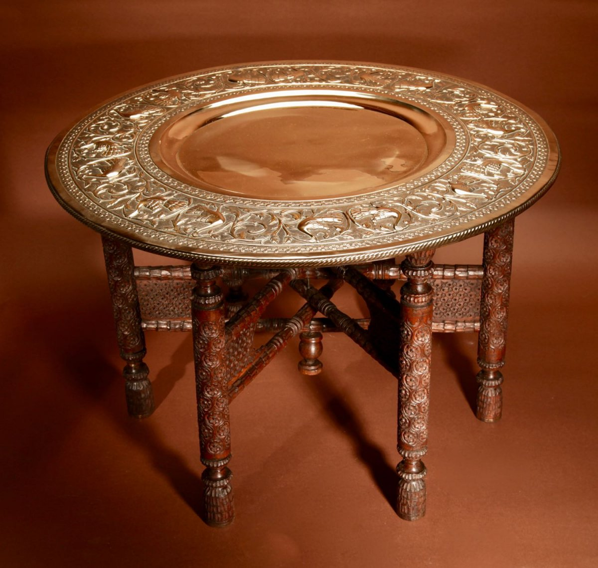 A Very Decorative Anglo Indian Middle Eastern Possible Mughal Empire Folding Coffee Table. Circ