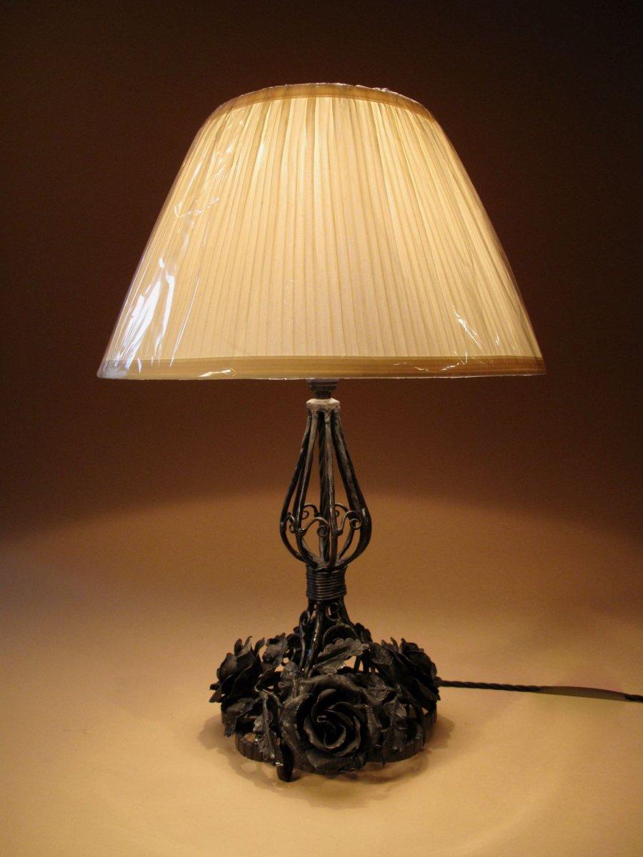 Very Decorative Wrought Iron Table Lamp, Circa 1920