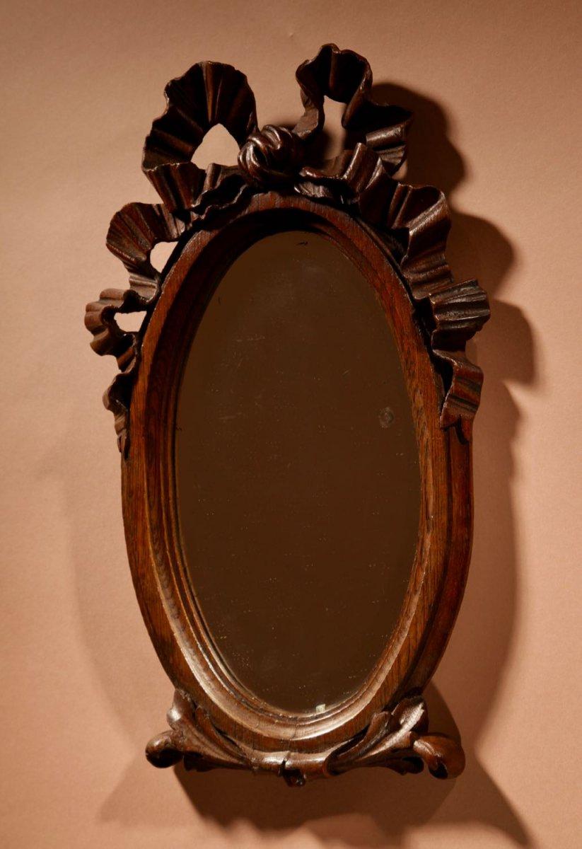 Miroir Ovale Décoratif En Chêne Sculpté, Style Louise à Saisir, Vers 1900