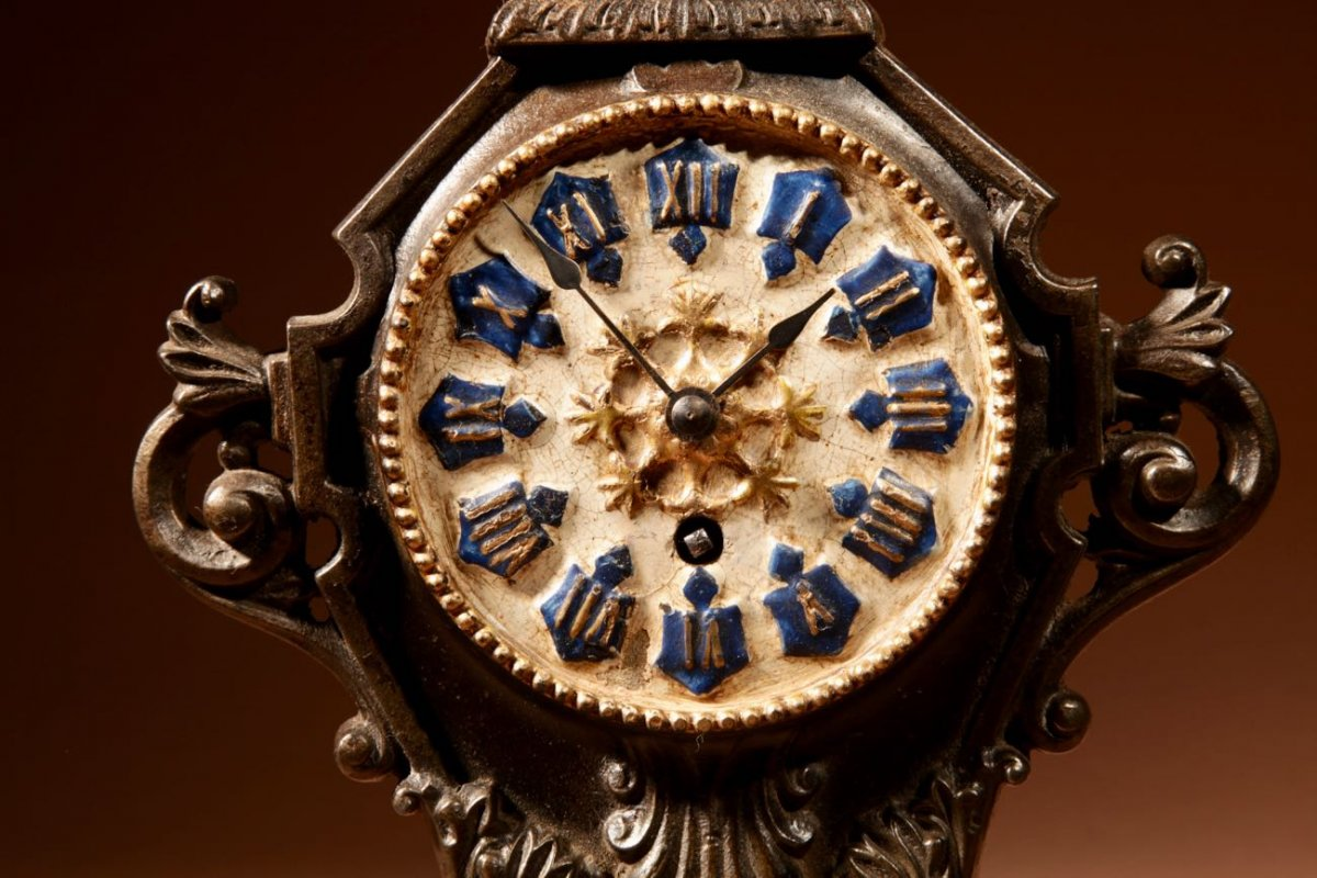 A French Cast Iron And Brass Rare Mantel Clock, Circa 1870.-photo-1