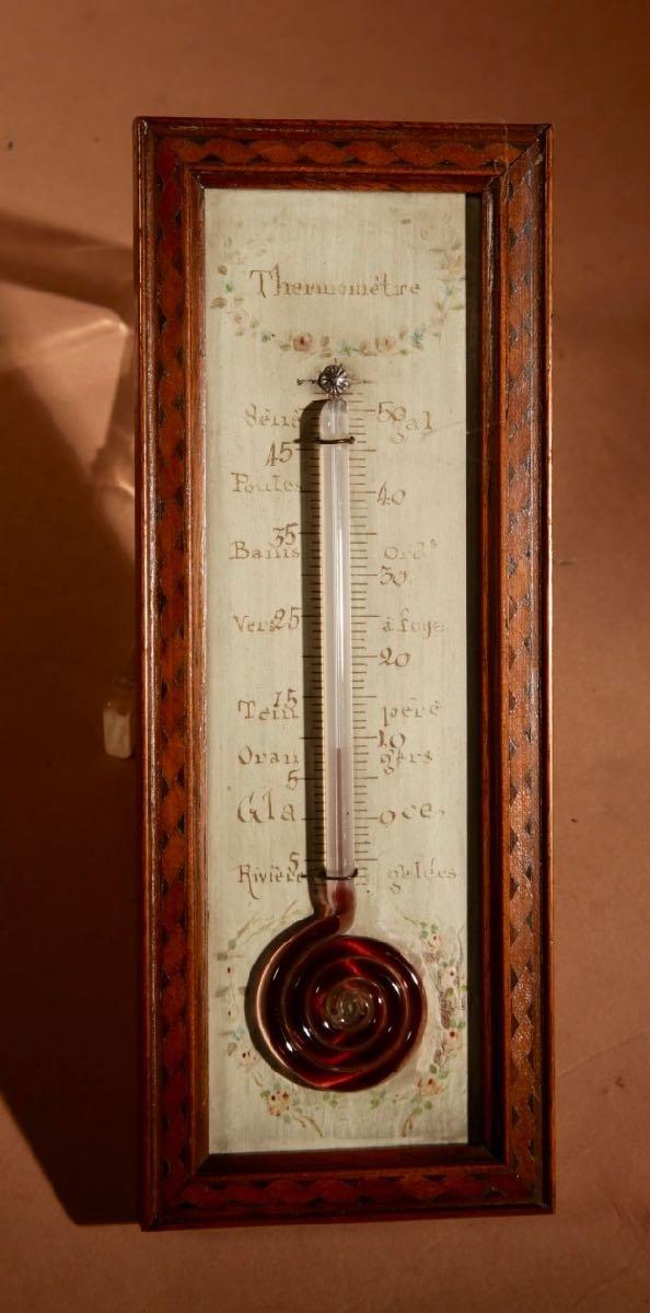 Un Petit Thermomètre Français Très Décoratif Et Agréable Vers 1850.-photo-2