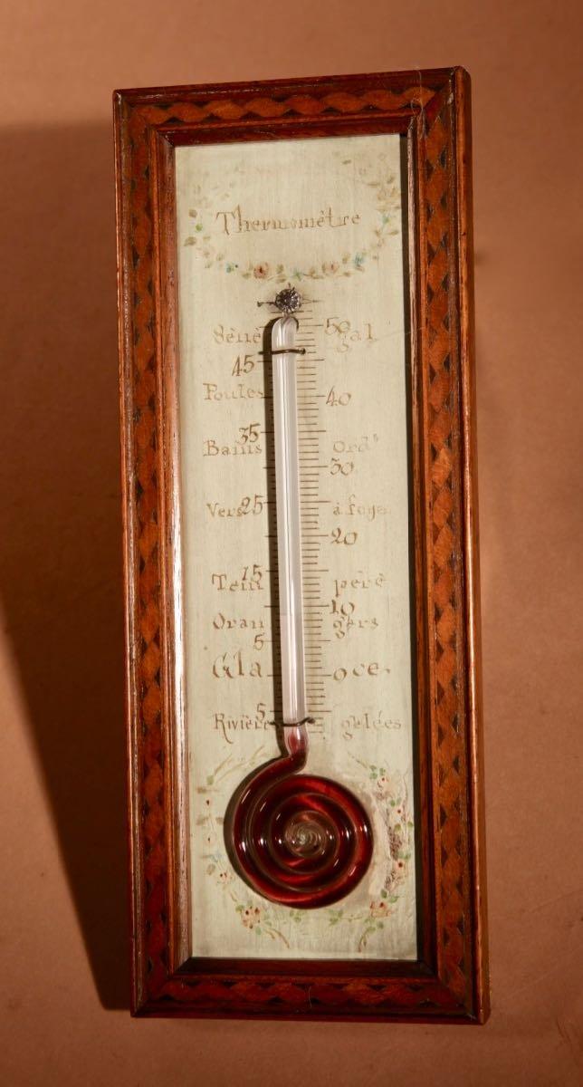 Un Petit Thermomètre Français Très Décoratif Et Agréable Vers 1850.-photo-3