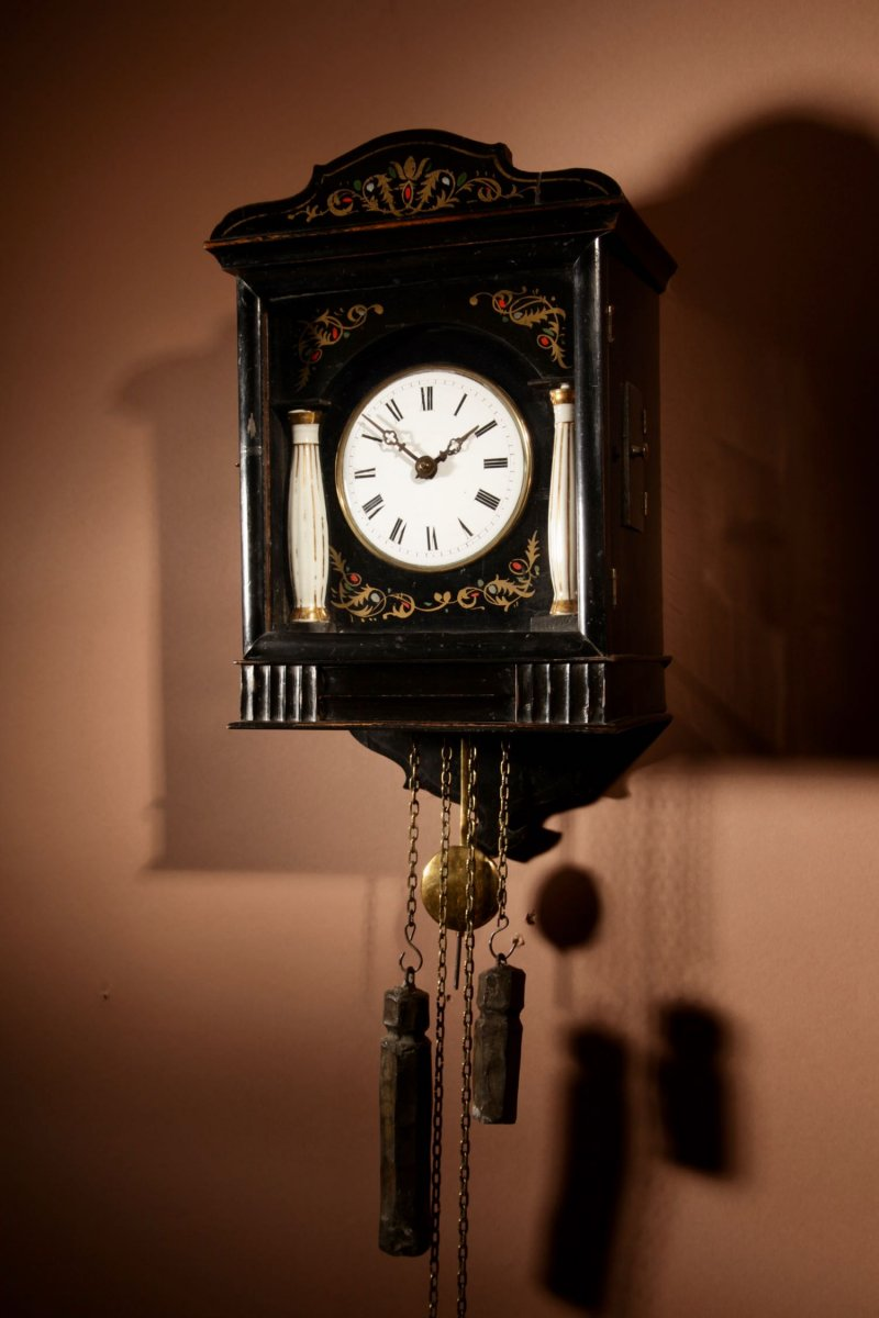 A Very Decorative And Original Black Forest Wall Clock.
