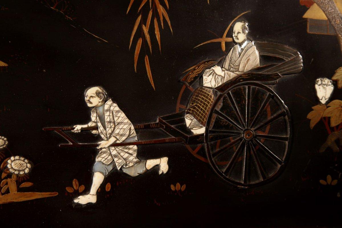 Une Vraie Paire De Panneaux Japonais Laqués Incrustés d'époque Meiji 1868-1912-photo-4