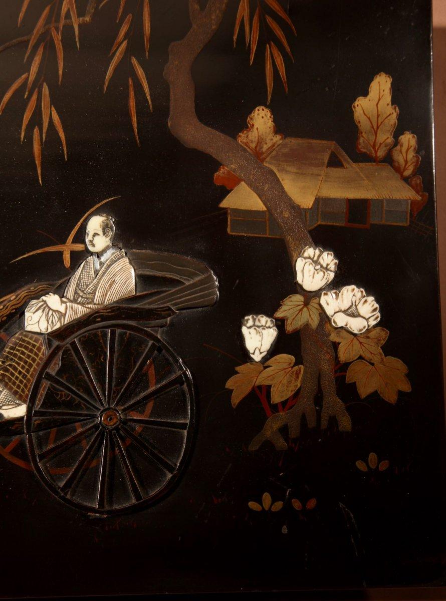 Une Vraie Paire De Panneaux Japonais Laqués Incrustés d'époque Meiji 1868-1912-photo-1