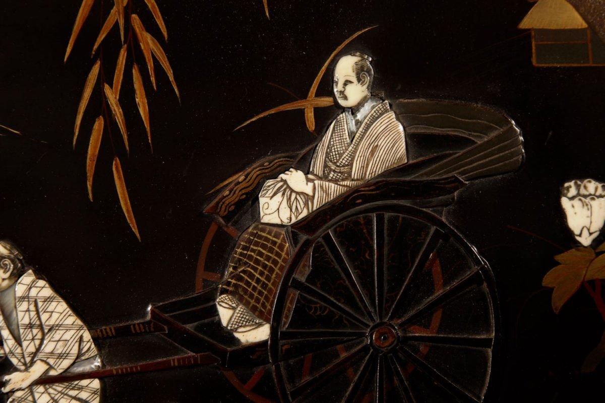 Une Vraie Paire De Panneaux Japonais Laqués Incrustés d'époque Meiji 1868-1912-photo-3