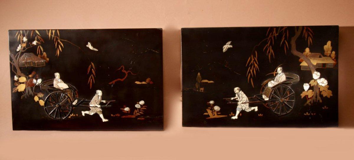 Une Vraie Paire De Panneaux Japonais Laqués Incrustés d'époque Meiji 1868-1912