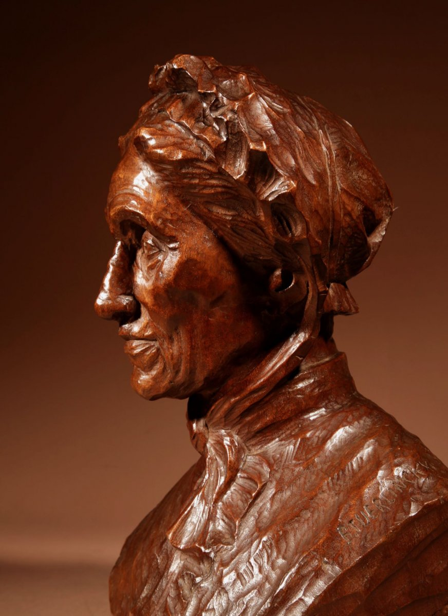Un Beau Buste Expressif Sculpté an Bois  d'Une Femme, Signé B.tuerlinckx = Boudewijn Tuerlinckx (mechele-photo-3