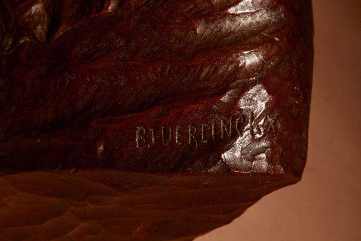 Un Beau Buste Expressif Sculpté an Bois  d'Une Femme, Signé B.tuerlinckx = Boudewijn Tuerlinckx (mechele-photo-4