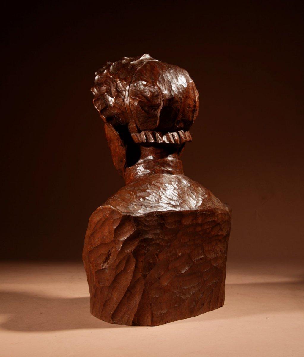 Un Beau Buste Expressif Sculpté an Bois  d'Une Femme, Signé B.tuerlinckx = Boudewijn Tuerlinckx (mechele-photo-5