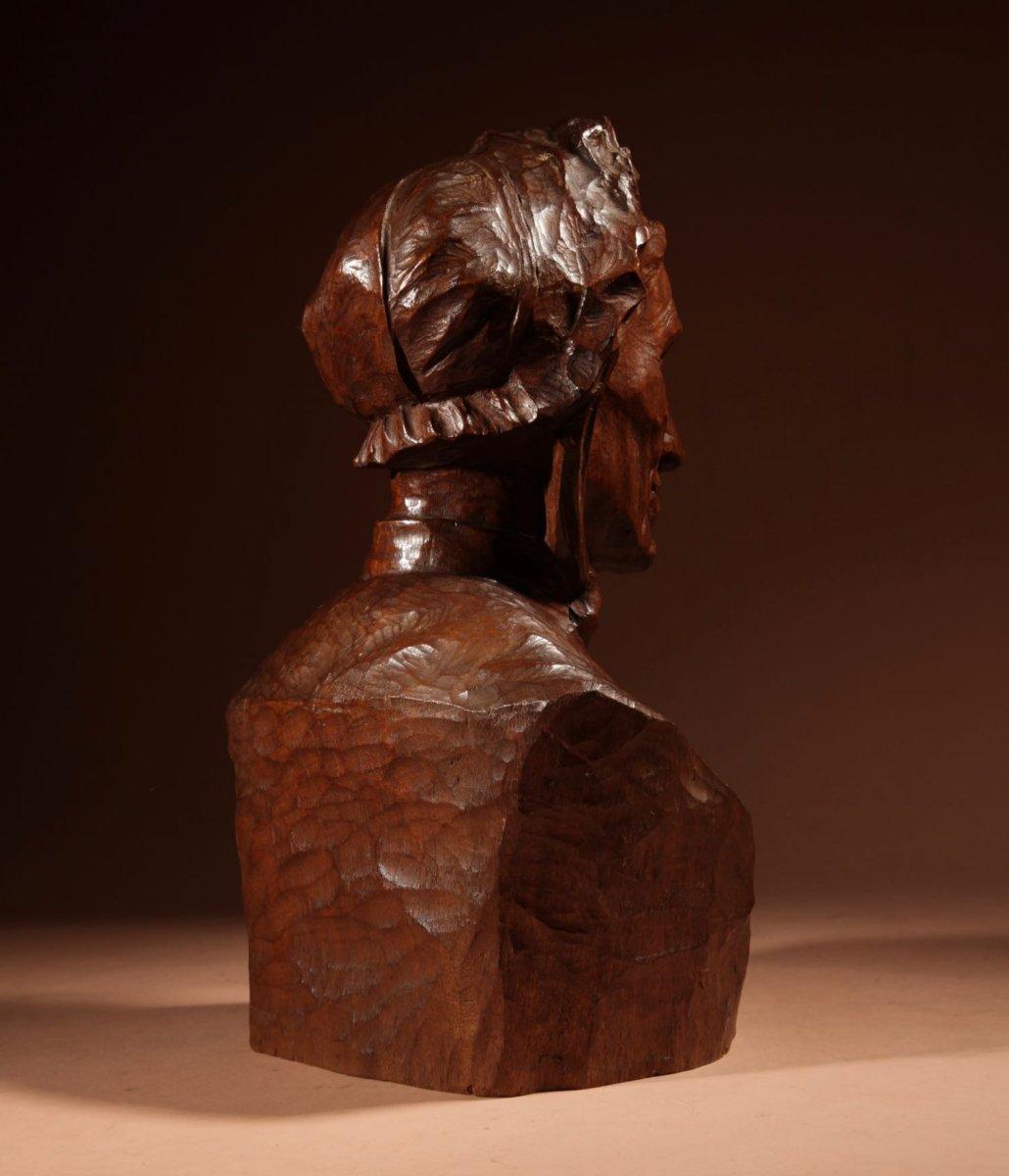 Un Beau Buste Expressif Sculpté an Bois  d'Une Femme, Signé B.tuerlinckx = Boudewijn Tuerlinckx (mechele-photo-6