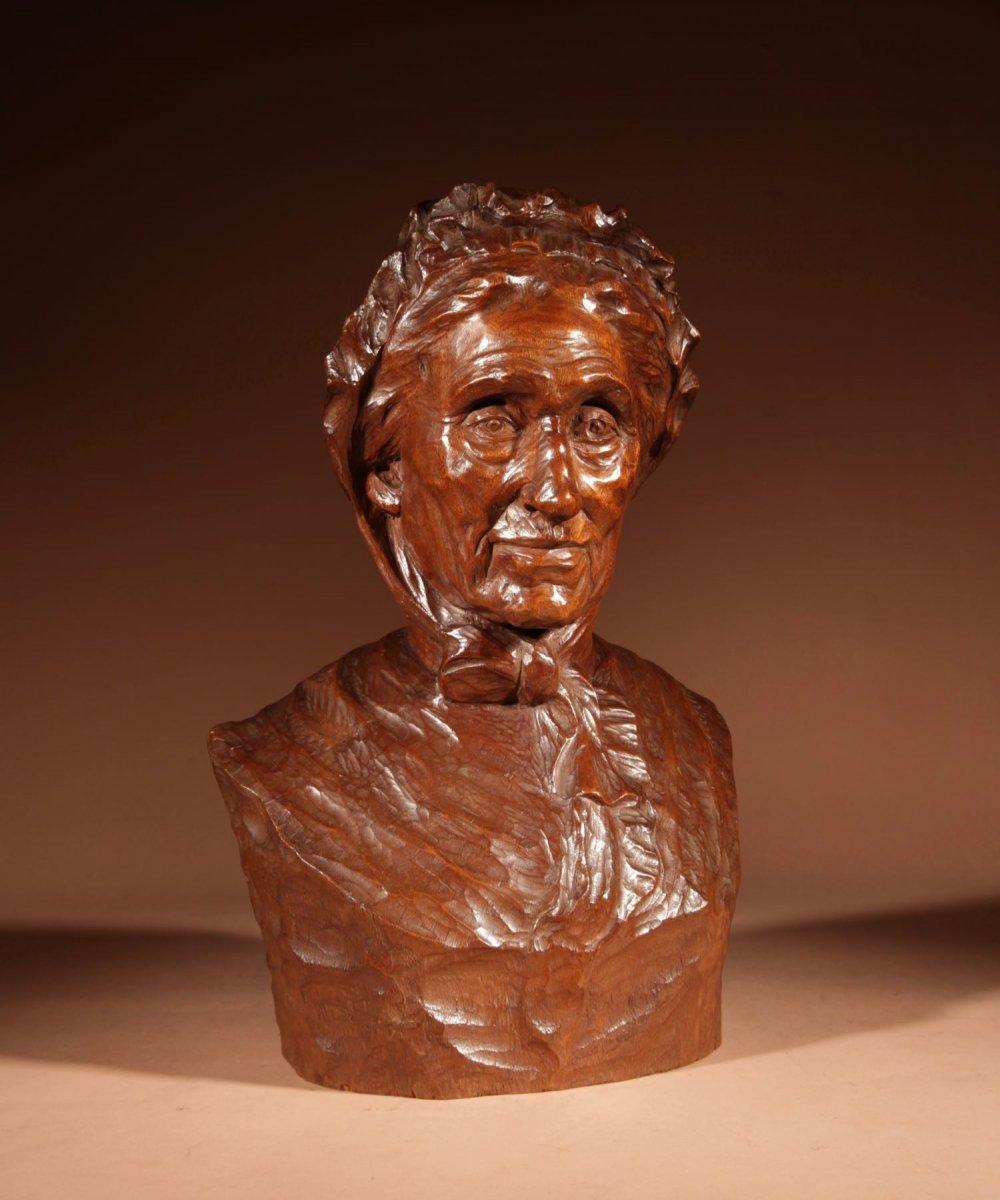 Un Beau Buste Expressif Sculpté an Bois  d'Une Femme, Signé B.tuerlinckx = Boudewijn Tuerlinckx (mechele