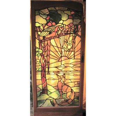 Tiffany Style Leaded Glass Parrot And Fox Door Window