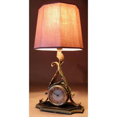 A Very Decorative Clock Electric Smiths Sectric Table Lamp