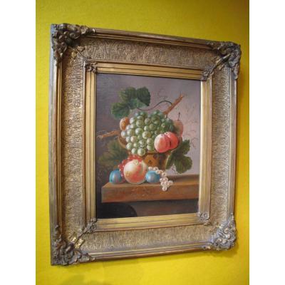 Une Peinture à l'Huile Originale, Toile, d'Un Panier Avec Des Fruit