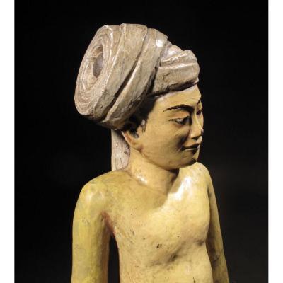 Figure Indienne Finalement Sculptée Oriental