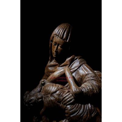 Une Belle Et Très Impressionnante Sculpture Médiévale En Chêne Sculpté De Pièta.