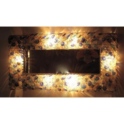 Illuminated Glass Mirror Possibly Murano 1960-1980