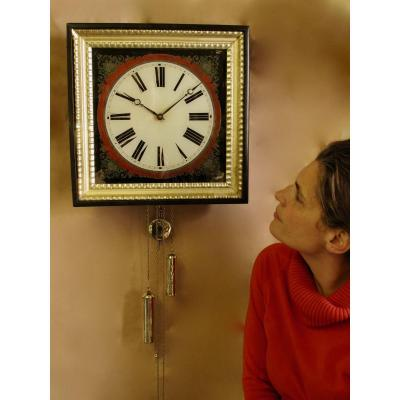 Wall Clock With Black Painted Glass Dial From The Black Forest (eglomise Glass)