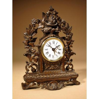 Rare Vieux Réveil En Fonte Couleur Brun Doré Horloge