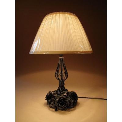 Lampe De Table En Fer Forgé Très Décorative, Vers 1920