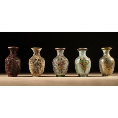 A  Rare Complete Chinese Demonstration Set How To Make Plique-a-jour Vases Circa 1920-1940.