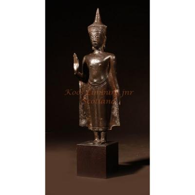 Bouddha Couronné De Bronze Thaïlande Circa 1600