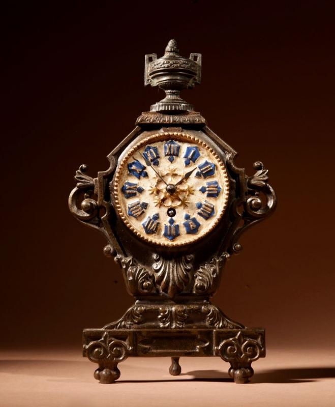 A French Cast Iron And Brass Rare Mantel Clock, Circa 1870.-photo-2