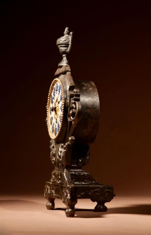 A French Cast Iron And Brass Rare Mantel Clock, Circa 1870.-photo-3