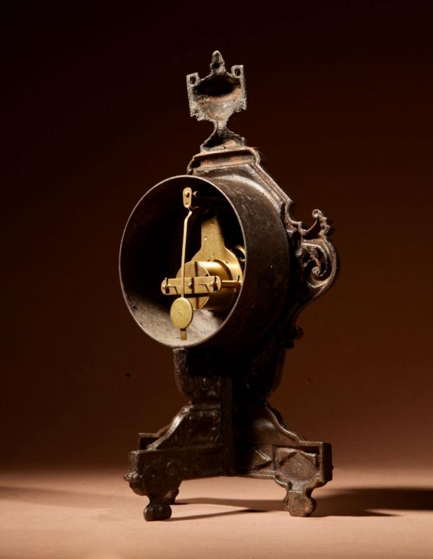 A French Cast Iron And Brass Rare Mantel Clock, Circa 1870.-photo-4