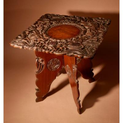 An Original Indian Folding Table Very Finely Carved Made In Srinagar Around 1900/1920