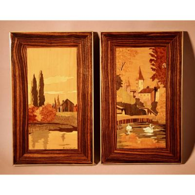 A Very Decorative Art Deco Pair Of Signed Marquetry Panels, Circa:1940