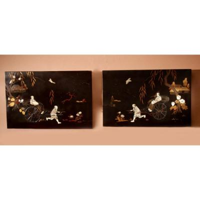 A Real Pair Of Japanese Inlaid Lacquered Panels Meiji Period 1868-1912