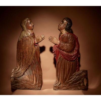 Reliefs Sculptés Très Décoratifs / Sculpture d'Un Homme Et d'Une Femme Vers 1540