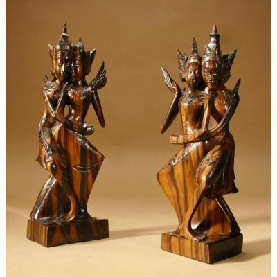 Pair Of Balinese Dancers Finely Carved, Very Elegant, Indonesian, Around 1920-1940
