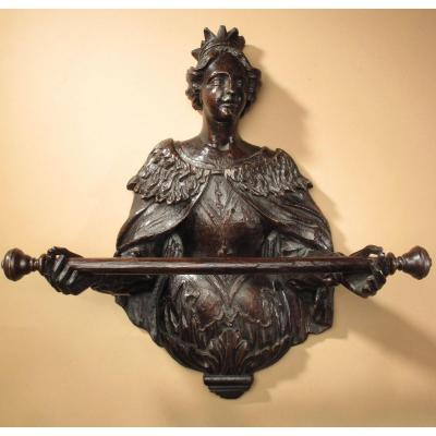Rare Serviette Anglo-néerlandaise En Chêne Sculpté - Rail, Fin Du 17ème Siècle