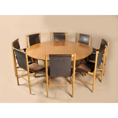 A Rare And Complete  John Makepeace Maple Wood Dining Set