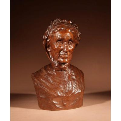 A Beautiful Expressive Carved Wooden Bust Of A Woman, Signed B. Tuerlinckx = Boudewijn Tuerlinckx (mec