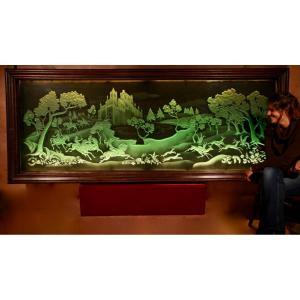 Fauconnerie Et Chasse Intérêt Magnifique Art Déco Enluminé Gravé Et Gravé Dans Un Très Grand Ve