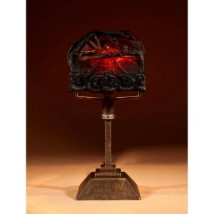 A Wrought Iron And Hammered Vienna Session Style Table Lamp Circa 1920