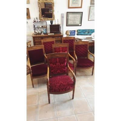Set Of 6 Restoration Chairs In Walnut, Religious Community