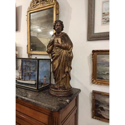 Statue Evangéliste, 19ème En Carton Bouilli, Italie