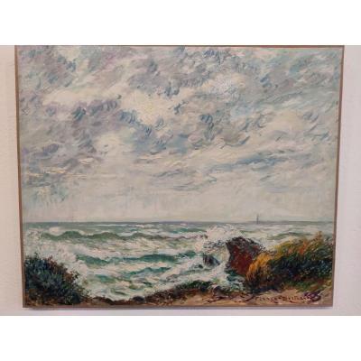"""Huile sur toile """"Les Sables-d'Olonne, la côte sauvage"""", Pierre Bertrand"""