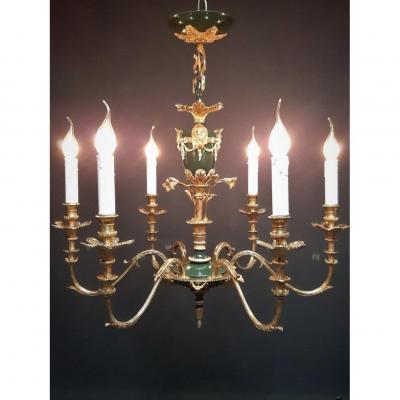 Lustre En Bronze Doré Et Tôle Laquée De Style Empire, 6 Lampes